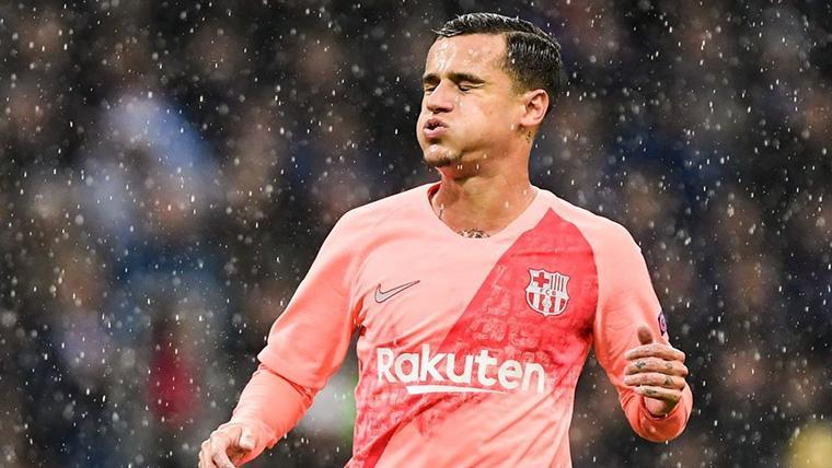 Philippe Coutinho, resoplando tras fallar una ocasión con el Barça