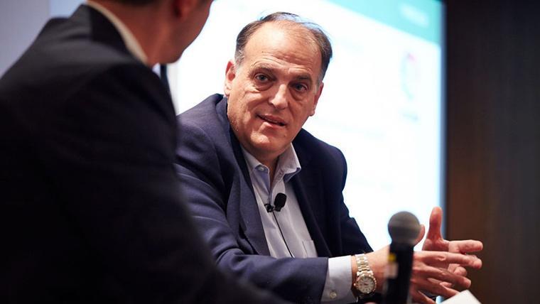 Javier Tebas, durante una conferencia con LaLiga Santander