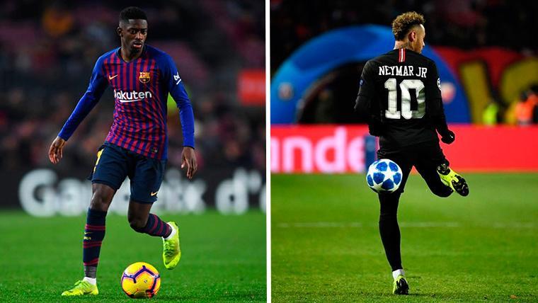 Ousmane Dembélé y Neymar Jr, cara a cara
