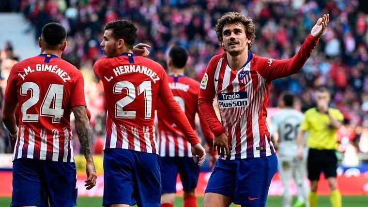 Antoine Griezmann celebra un gol con el Atlético de Madrid