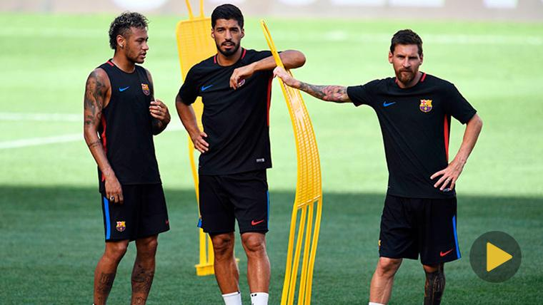 Neymar, Luis Suárez y Leo Messi en un entrenamiento del FC Barcelona