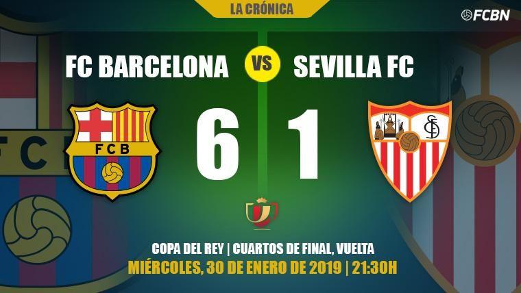 El 'Rey de Copas' se come al Sevilla: El Barça está en semis de la Copa del Rey (6-1)