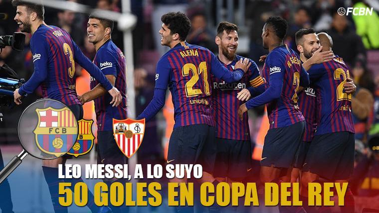 Leo Messi y sus compañeros, celebrando el último gol del 6-1 al Sevilla