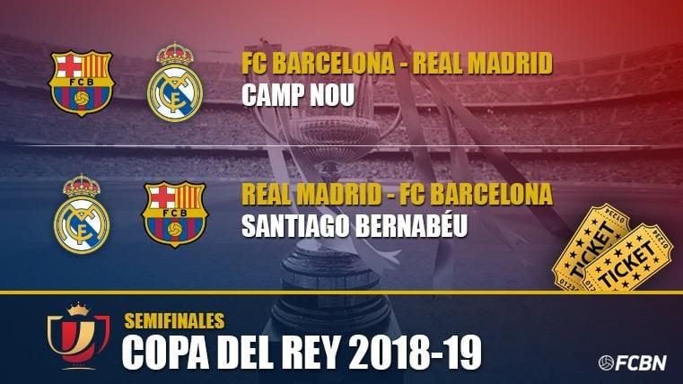 Ya puedes comprar tus entradas para los dos partidos que enfrentan a FC  Barcelona contra Real Madrid en semifinales de la Copa del Rey de fútbol  2018-2019. f29753dc64cf1