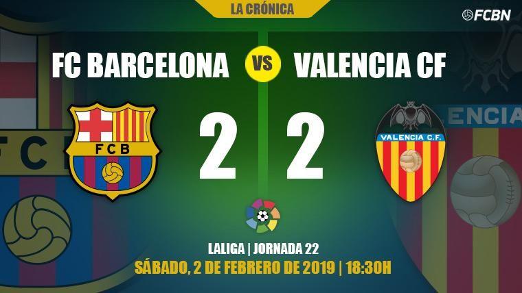 El Barça se deja dos puntos en su lucha por LaLiga ante un gran Valencia (2-2)
