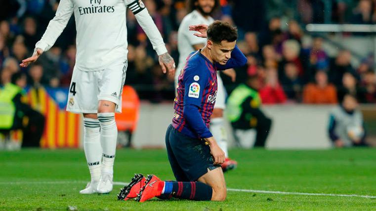 Coutinho se lamenta tras una ocasión desperdiciada en el Clásico