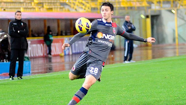 Martí Riverola en un partido con el Bolonia