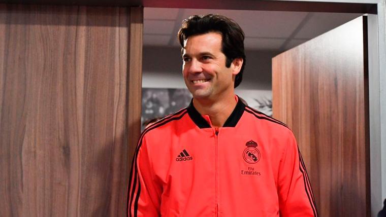 Santiago Solari en una rueda de prensa del Real Madrid
