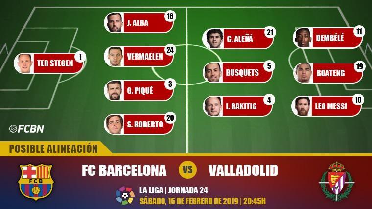Las posibles alineaciones del FC Barcelona-Real Valladolid (LaLiga J24)