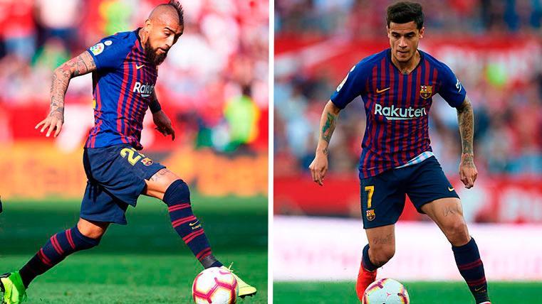 Las notas negativas del Barça en Sevilla: Arturo Vidal y Philippe Coutinho