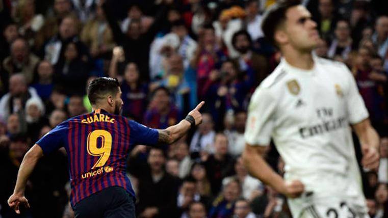 Luis Suárez, celebrando un gol marcado al Real Madrid