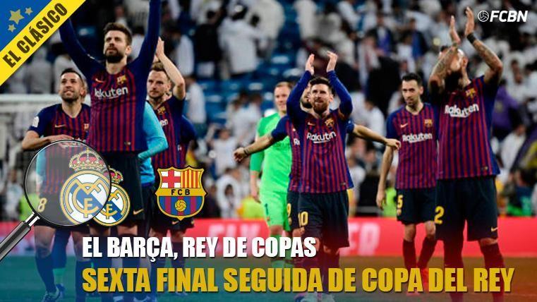 El FC Barcelona, celebrando el pase a la sexta final seguida de Copa del Rey