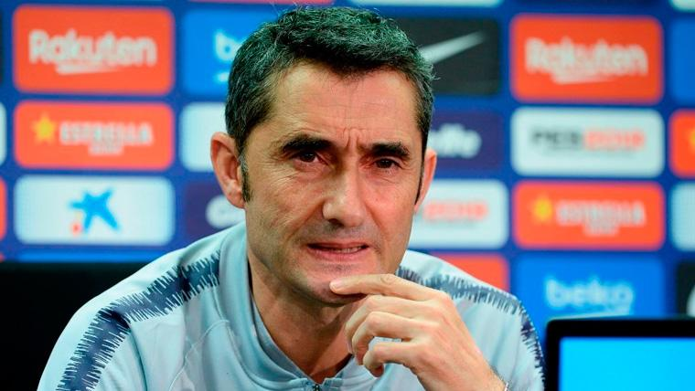 Ernesto Valverde en una rueda de prensa del FC Barcelona