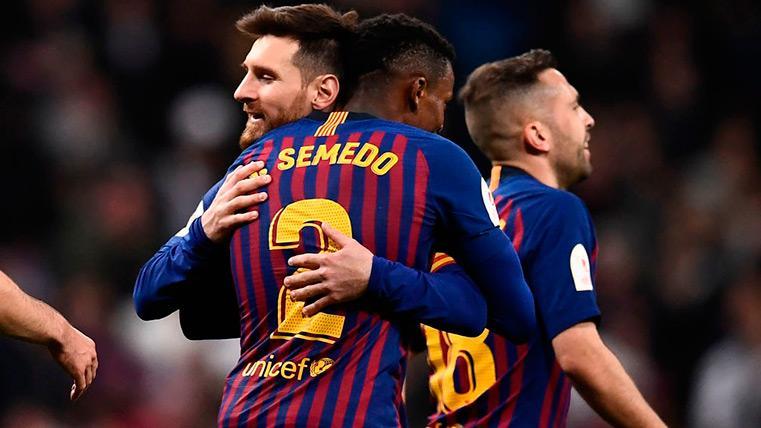Messi y Semedo celebran la victoria