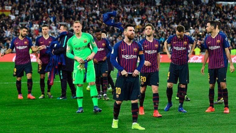 Los jugadores del FC Barcelona en un Clásico de la Copa del Rey