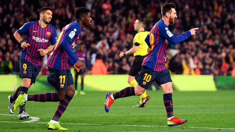 Messi, Suárez y Dembélé celebran un gol