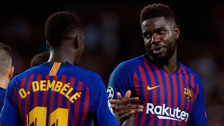 Samuel Umtiti en un partido con el Barcelona