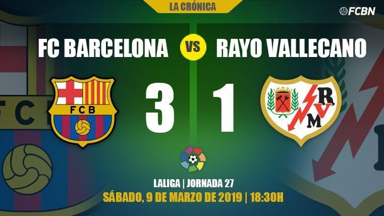 Un FC Barcelona sin brillo supera al Rayo (3-1) y ya piensa en la Champions League