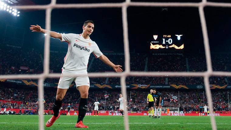 Wissam Ben Yedder celebra un gol del Sevilla