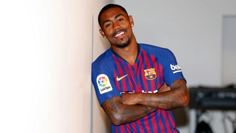 Malcom en su presentación con el FC Barcelona