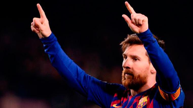 Leo Messi, celebrando el gol marcado contra el Olympique de Lyon