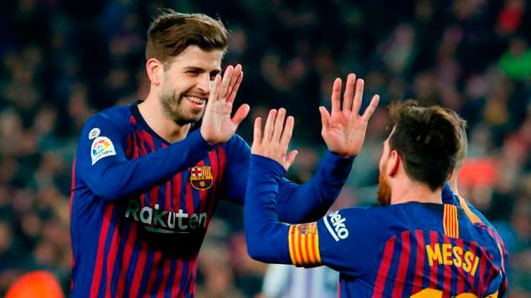 Leo Messi y Gerard Piqué, celebrando un gol con el FC Barcelona