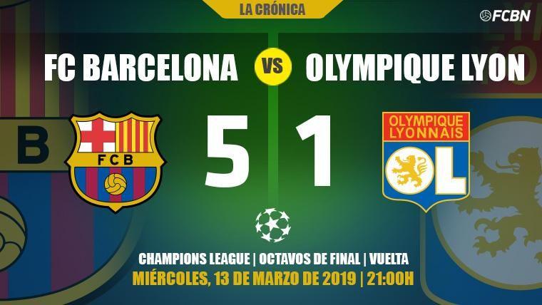El Camp Nou esquiva el susto del Lyon y el Barça está en cuartos de la Champions (5-1)