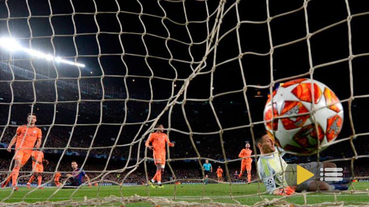 Uno de los goles del FC Barcelona contra el Olympique de Lyon