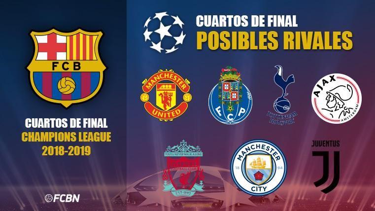 Estos son los posibles rivales del Barça en 1/4 de Champions League