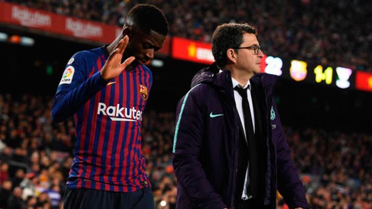 Ousmane Dembélé, tras lesionarse con el FC Barcelona