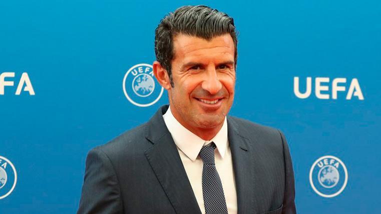 Luis Figo en un acto de la UEFA