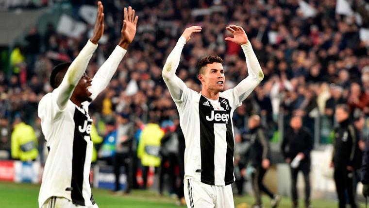 Cristiano Ronaldo celebra la clasificación de la Juventus en Champions