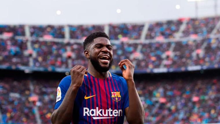 Samuel Umtiti, celebrando un gol marcado con el FC Barcelona