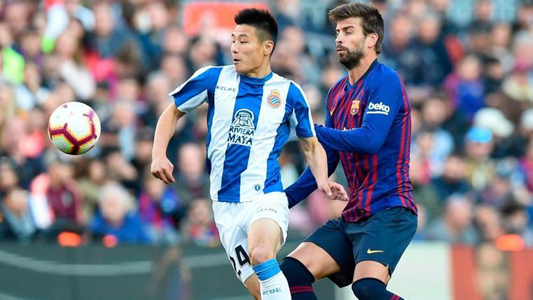 Wu Lei, la estrella china, se estrenó en un 'derby' con derrota en el Camp Nou