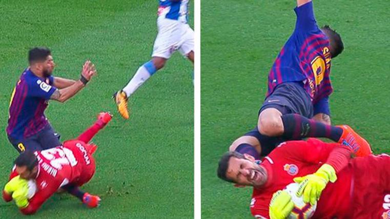 Luis Suárez sufrió un aparatoso choque con Diego López en el Barça-Espanyol