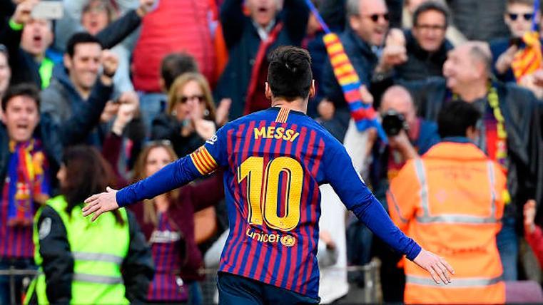 Leo Messi, celebrando ante el Espanyol