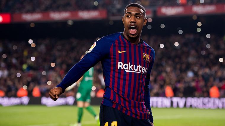 Este chico es un diamante en bruto: Cabezazo de Malcom para el segundo del Barça