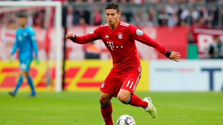 James Rodríguez en un partido del Bayern de Múnich
