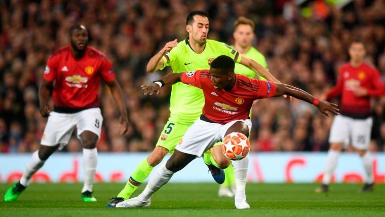 Busquets no estuvo acertado en Old Trafford y 'rompió' la medular del Barça