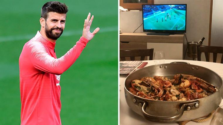 Así disfrutó Gerard Piqué del Huesca-Barça desde la distancia