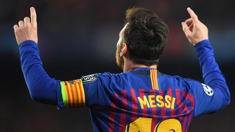 Leo Messi, celebrando uno de los goles al Manchester United