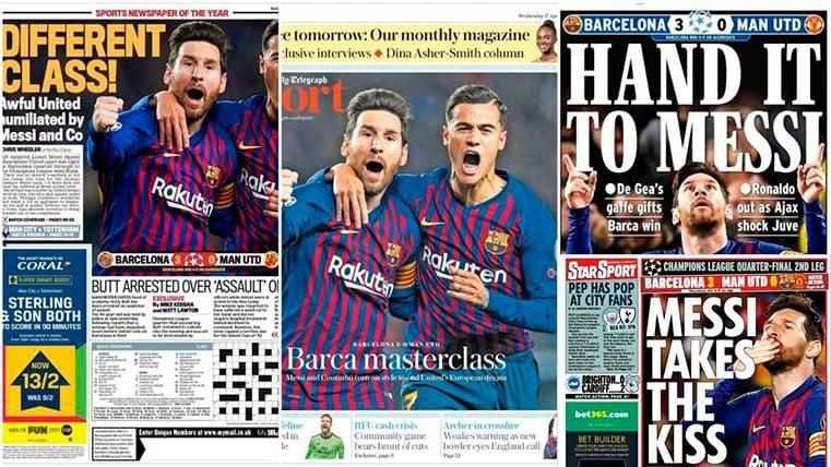 La prensa internacional ensalza al Barça por su pase y se deshace en elogios a Leo Messi