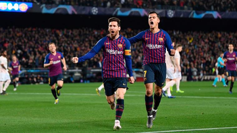Leo Messi y Philippe Coutinho celebran un gol del FC Barcelona