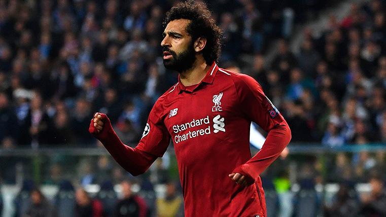 Mo Salah celebra su gol contra el Oporto