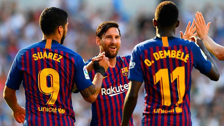 Cien goles creados entre el letal tridente del Barcelona, Dembélé, Messi y Suárez