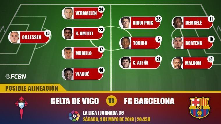 Las posibles alineaciones del Celta-FC Barcelona (LaLiga J36)