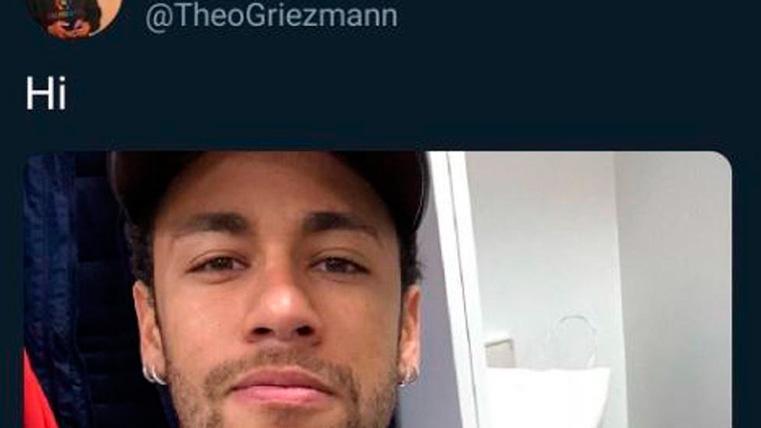 El mensaje de Theo Griezmann saludando a Neymar Jr en Twitter