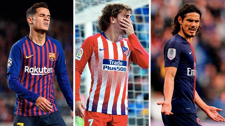 Coutinho, Griezmann y Cavani, de izquierda a derecha