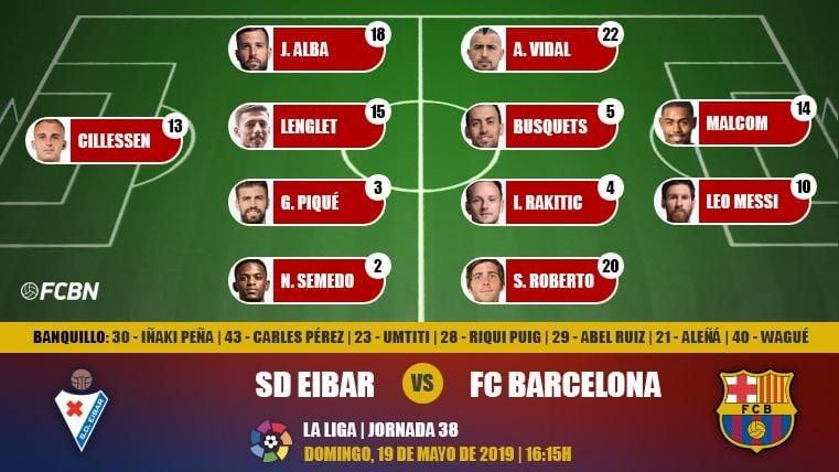 Alineaciones de la J38 de LaLiga: Eibar-FC Barcelona