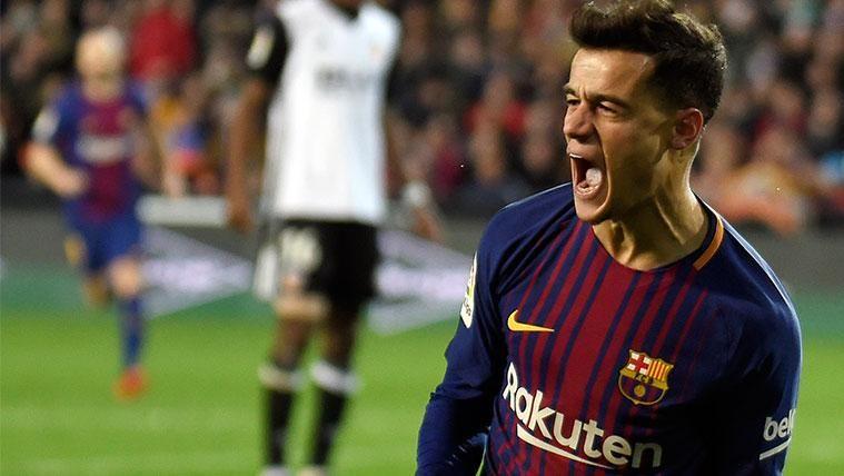 Philippe Coutinho celebra su primer gol con el FC Barcelona